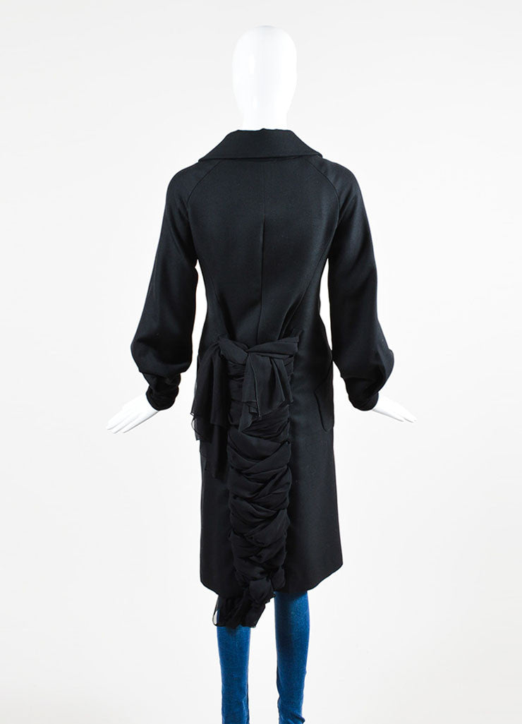 Yohji Yamamoto Black Wool and Silk Tie Double Breasted Coat Backview