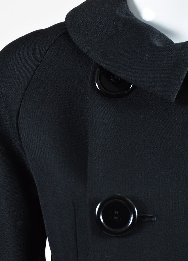 Yohji Yamamoto Black Wool and Silk Tie Double Breasted Coat Detail