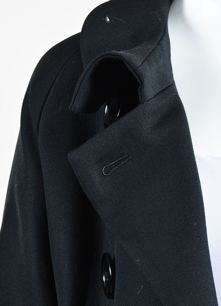 Yohji Yamamoto Black Wool and Silk Tie Double Breasted Coat Detail 2