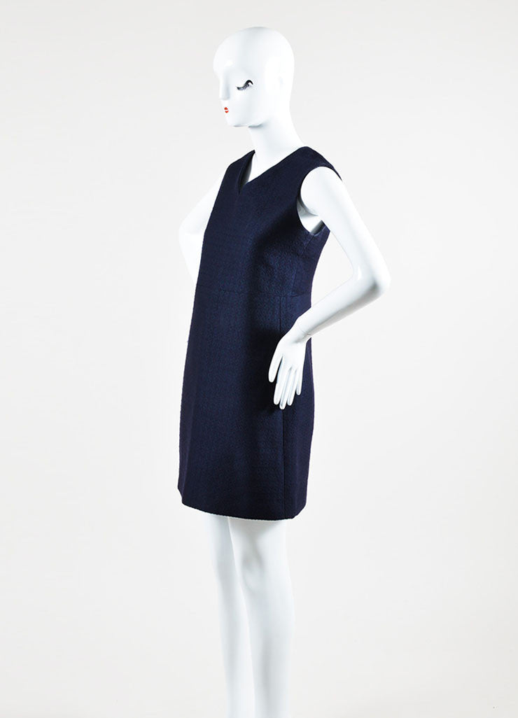 Celine Navy Silk Wool Blend Textured V-Neck Sleeveless Shift Dress Sideview