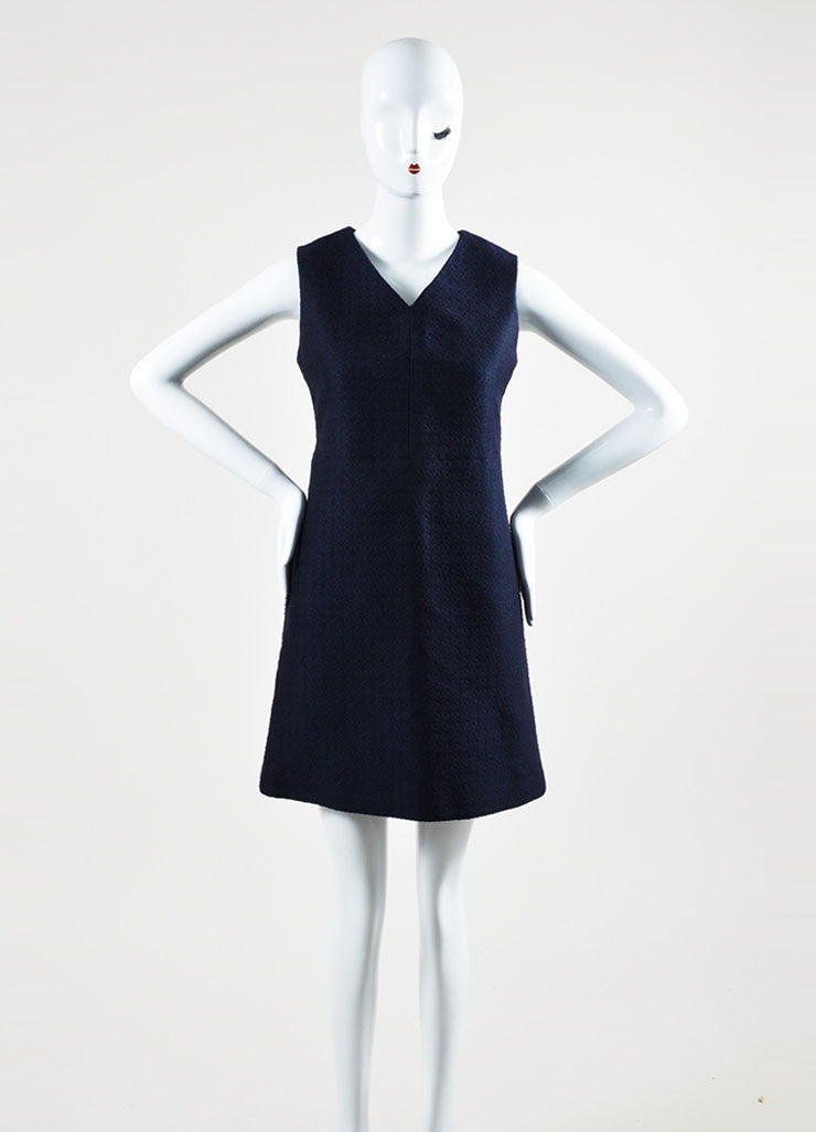Celine Navy Silk Wool Blend Textured V-Neck Sleeveless Shift Dress Frontview