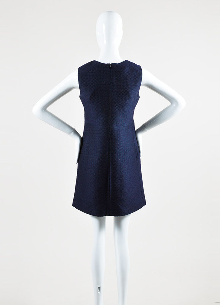 Celine Navy Silk Wool Blend Textured V-Neck Sleeveless Shift Dress Backview