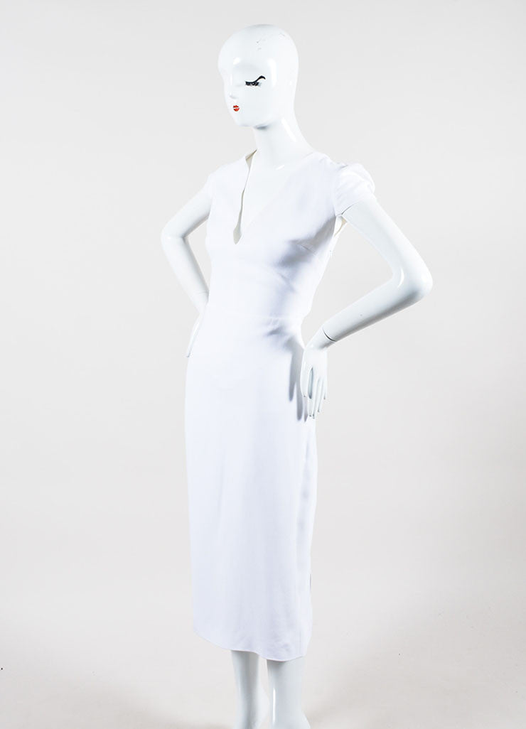 White Crepe Burberry Prorsum Jewel Embellished Crisscross Dress Sideview