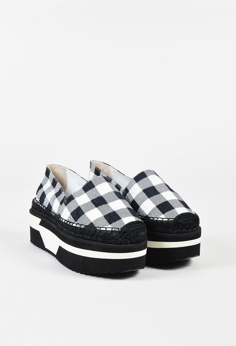 CHECK SLIP ON SHOE - Espadrille - black/white