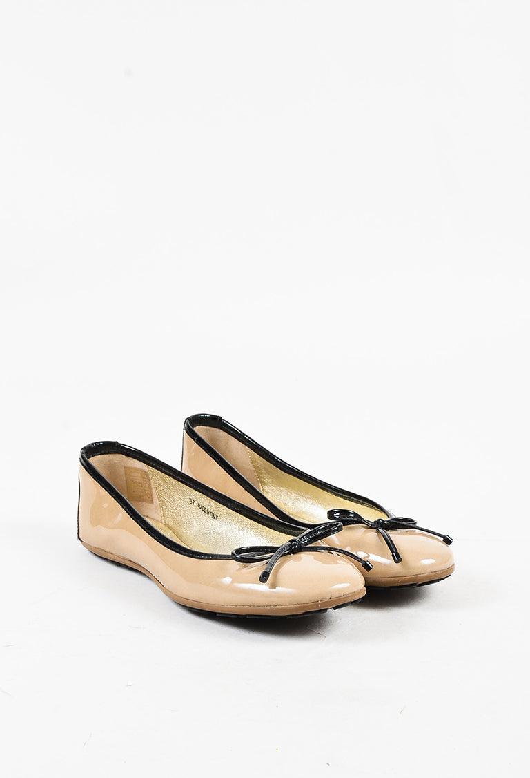 658fadc646b Jimmy Choo Beige   Black Patent Leather Bow Ballet Flats – Luxury ...