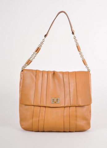 "Tan Leather Pleated Turnlock ""Gracie"" Shoulder Bag"