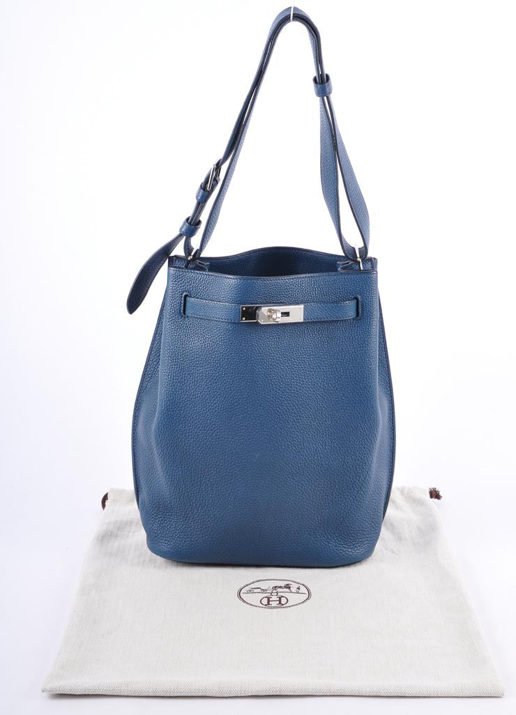 "Blue Clemence Leather ""So Kelly 22cm"" Shoulder Bag"