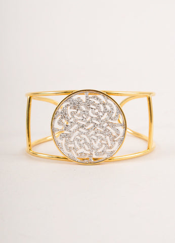 New 18 KT Yellow and White Gold With 1.42 CT Diamond Logo Cuff Bracelet