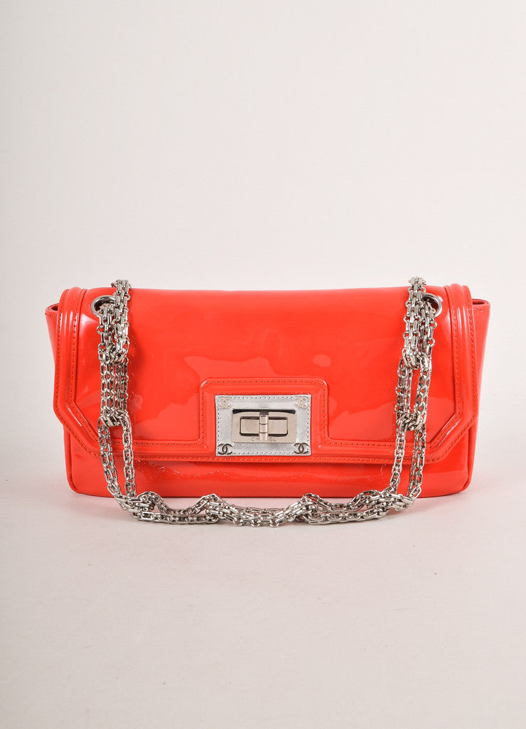 Coral Patent Leather Modified Chain Strap Turnlock Flap Bag