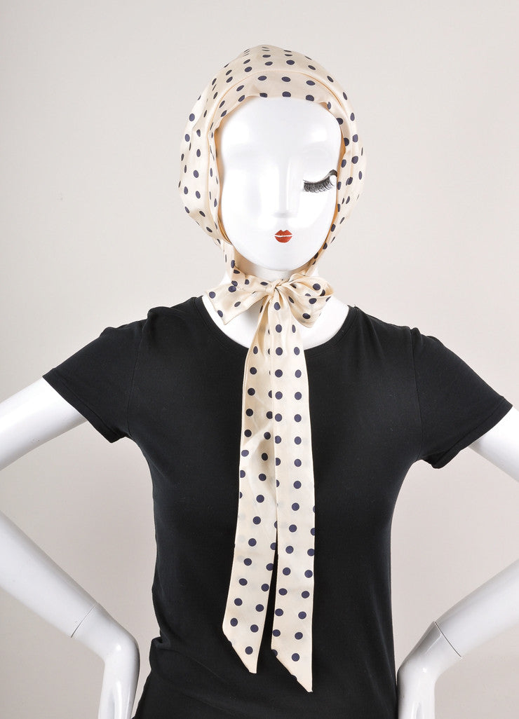 Cream and Navy Polka Dot Silk Bonnet Hat