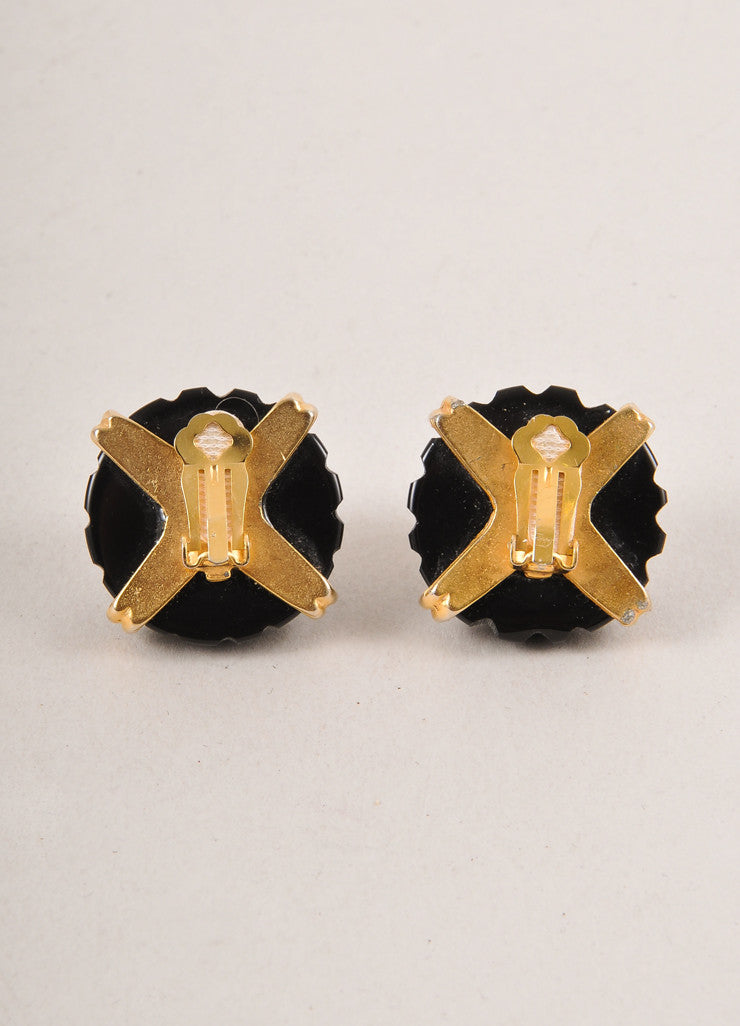 Vintage Black, Cream, and Gold Toned Round Faux Pearl Detail Earrings