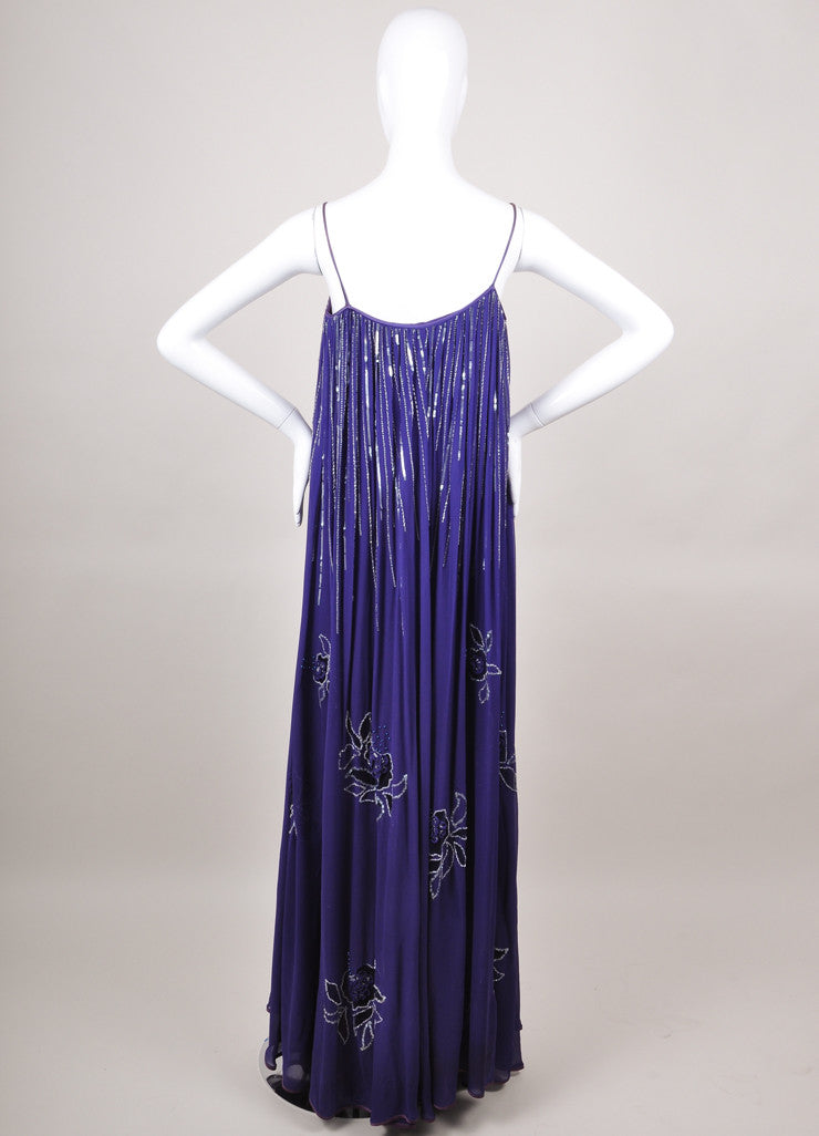 Purple Sleeveless Silk Dress with Embellishments