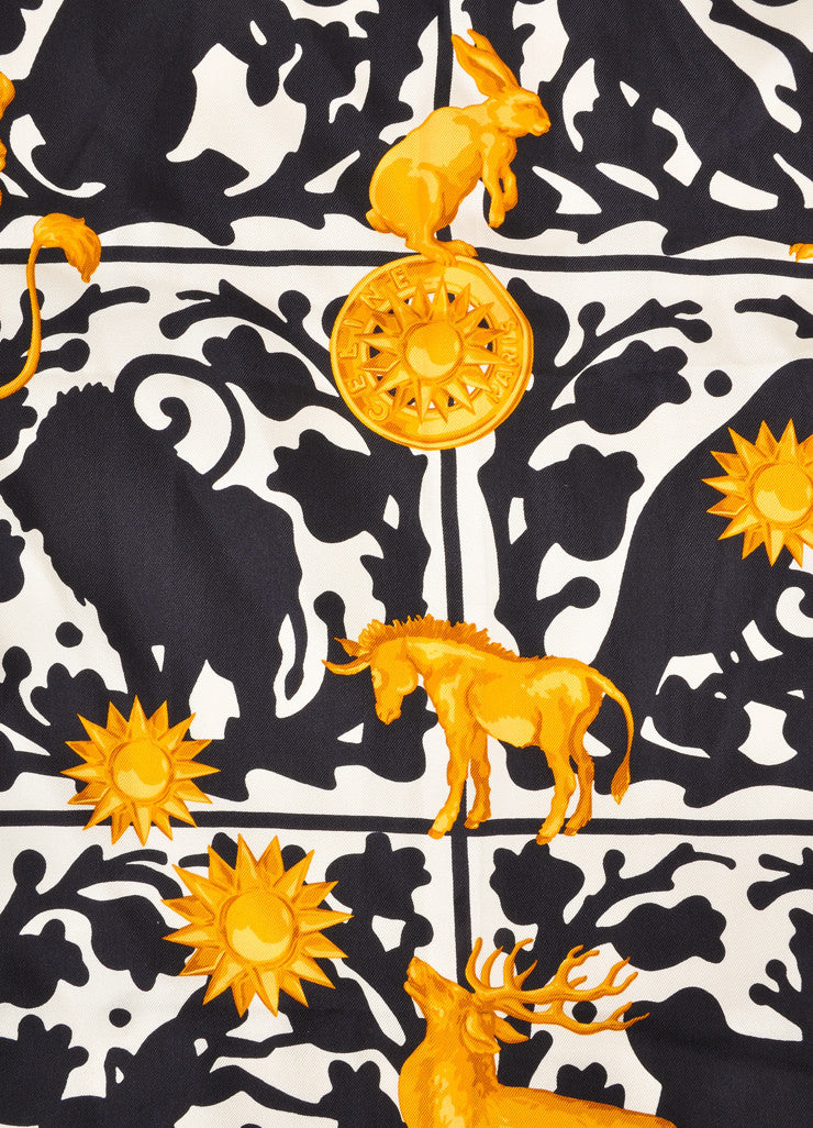 Black, Gold, and Cream Animal and Celestial Print Scarf