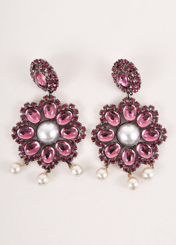 Purple and Grey Embellished Drop Earrings