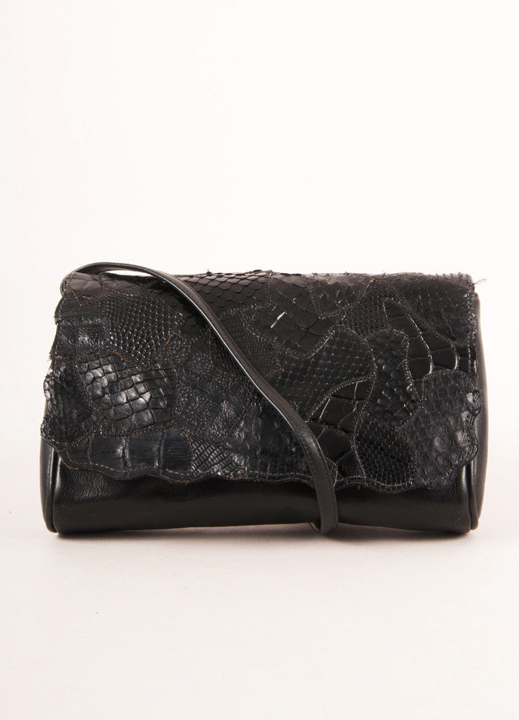 Black Leather Textured Flap Shoulder Bag