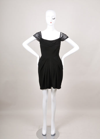 New With Tags Black Sleeveless Silk Drape Dress