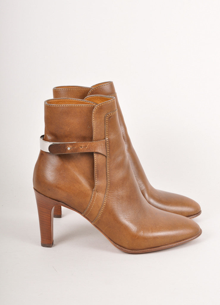 Brown and Silver Cuff High Heel Brown Leather Booties