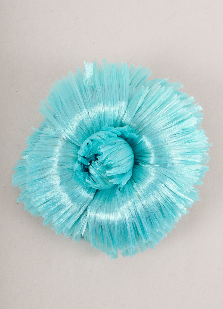 Blue Raffia Flower Pin