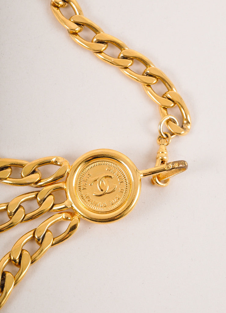 "Gold Toned Chain Link ""CC"" Medallion Three Strand Belt"