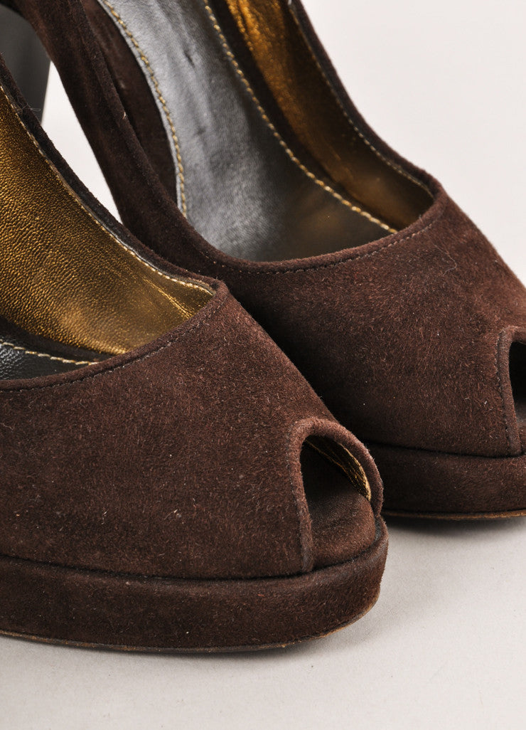 Brown Suede Peep Toe Pumps