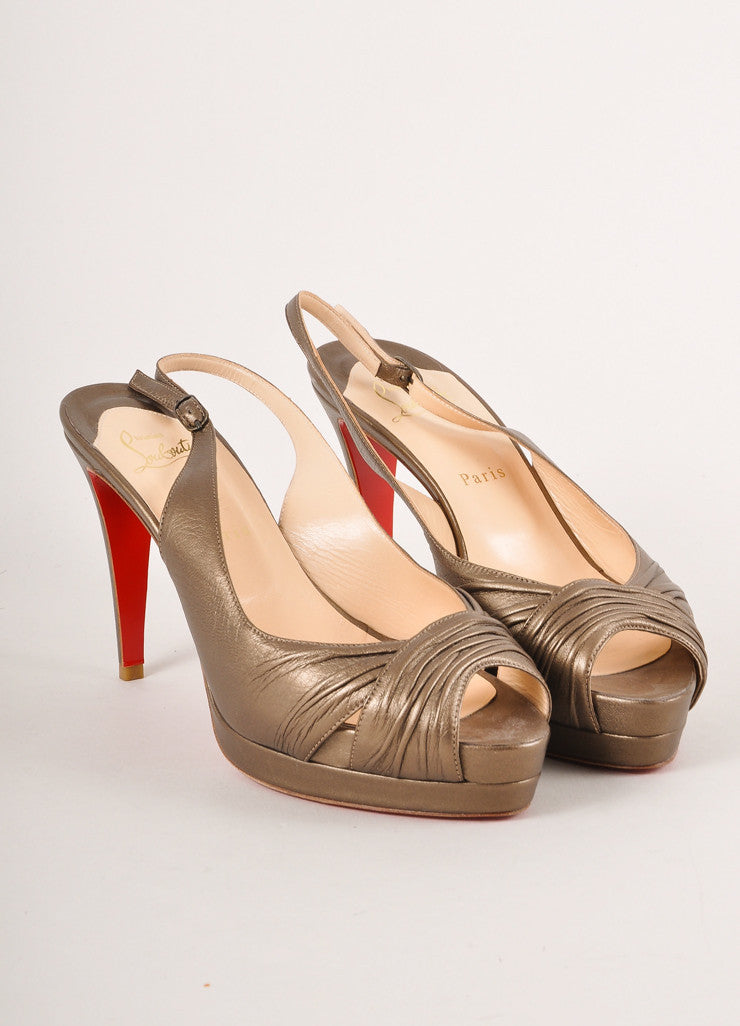 Christian Louboutin Grey Metallic Ruched Leather Peep Toe Slingback Pumps Frontview