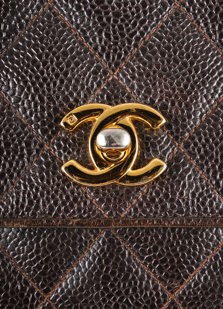 "Brown Quilted ""CC"" Turnlock Small Leather Handbag"