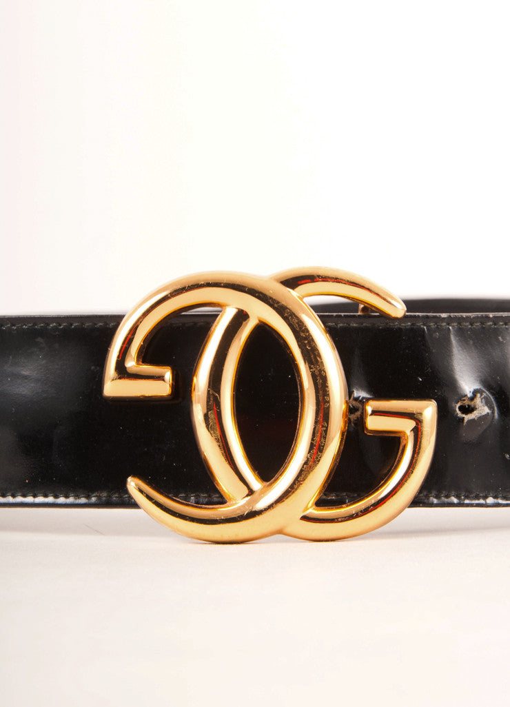"Black Patent Leather Belt With Gold Toned ""GG"" Buckle"