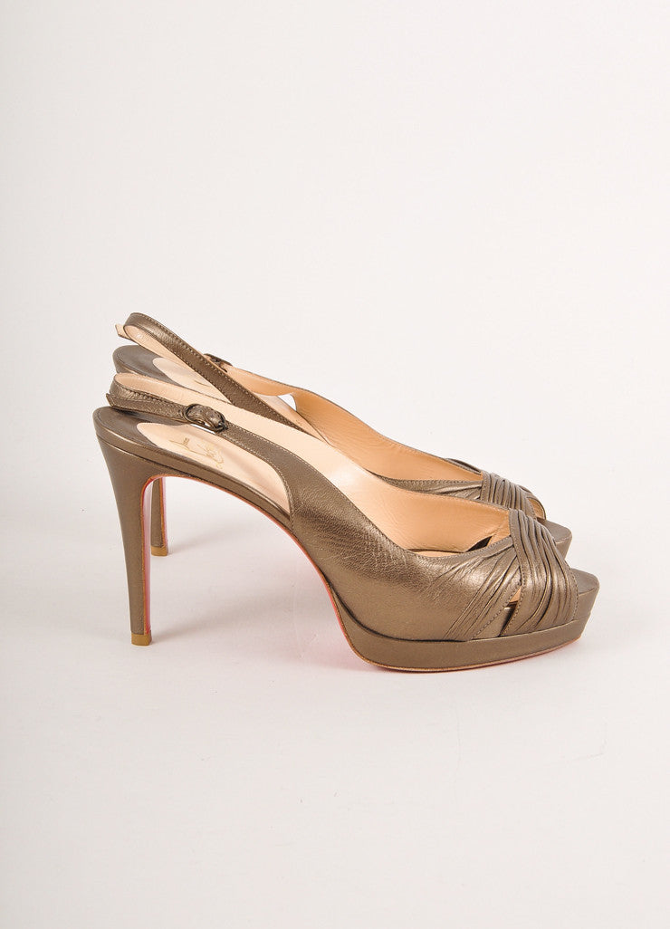 Christian Louboutin Grey Metallic Ruched Leather Peep Toe Slingback Pumps Sideview