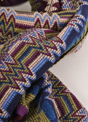 Blue, Green, and Purple Zig Zag Scarf