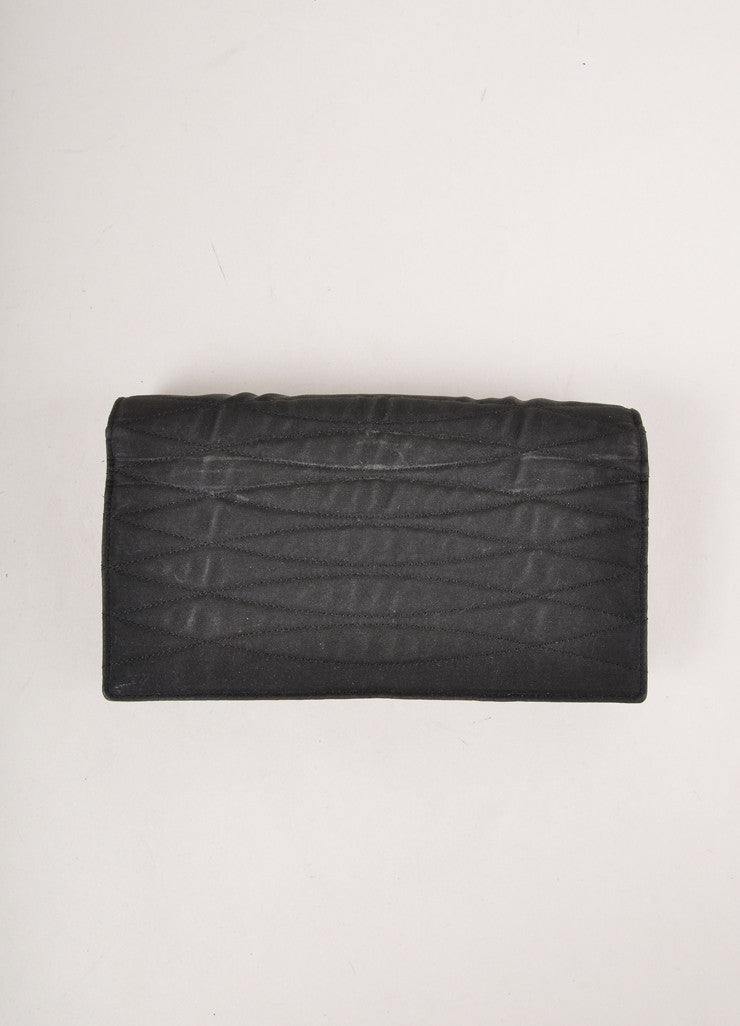 Chanel Black Nylon Quilted Clutch