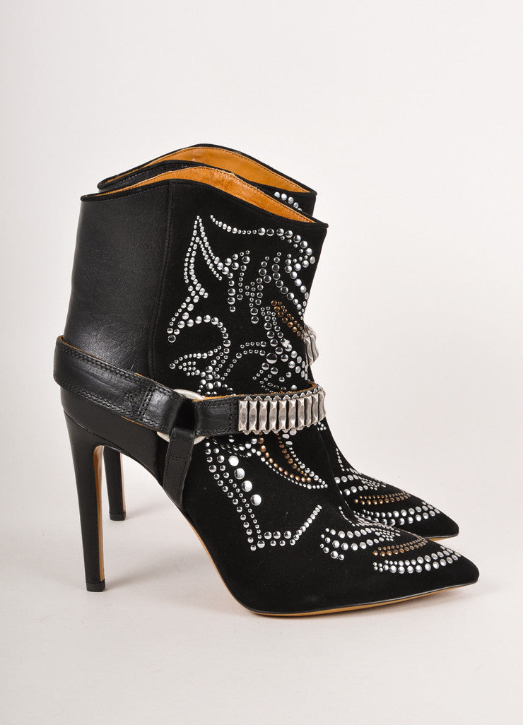 "New In Box Black and Silver Suede ""Milwaukee Studded Boots"""