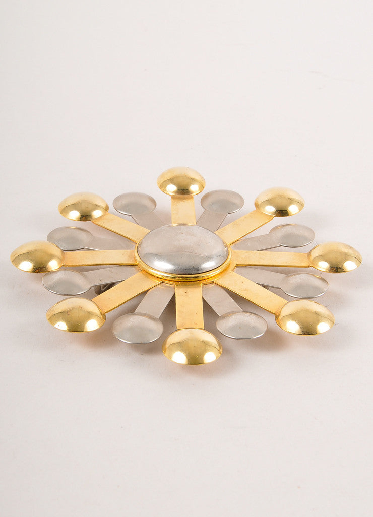 Gold and Silver Toned Oversized Starburst Belt Buckle