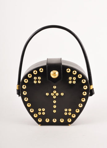 Black and Gold Toned Studded Hardshell Leather Handbag
