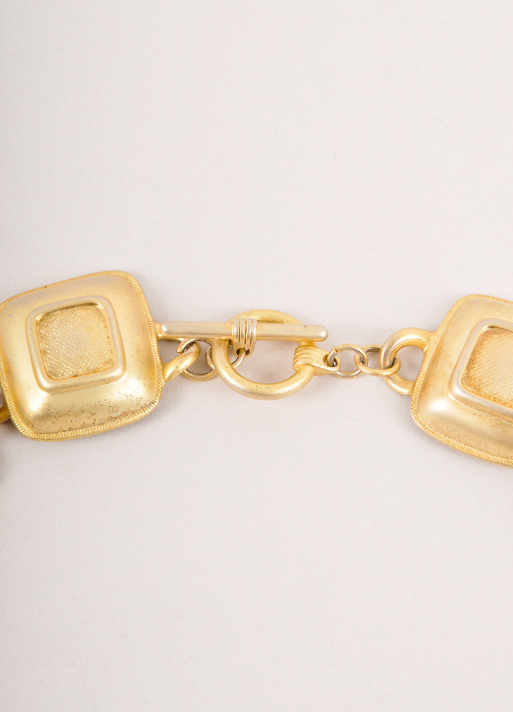 Vintage Gold Toned Raised Square Chunky Statement Necklace