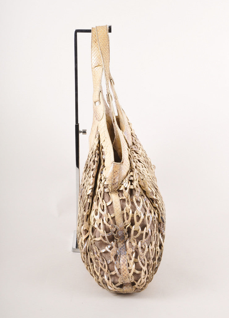Cream and Grey Metallic Woven Python Large Tote Bag