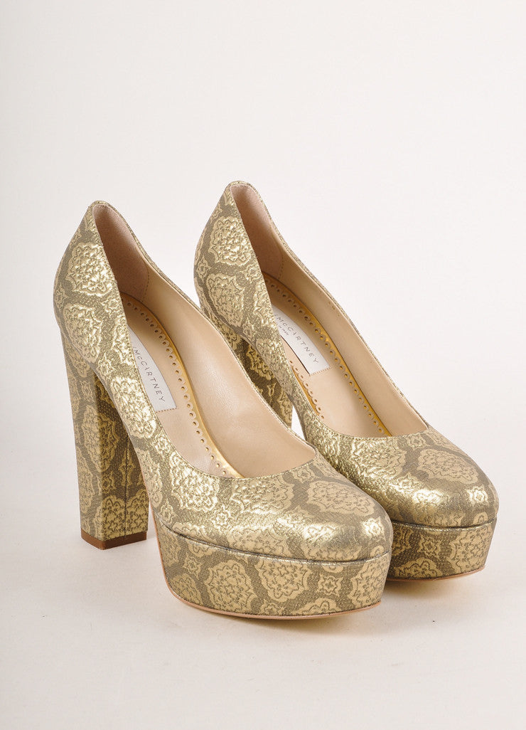 Gold Metallic Brocade Platform Pumps