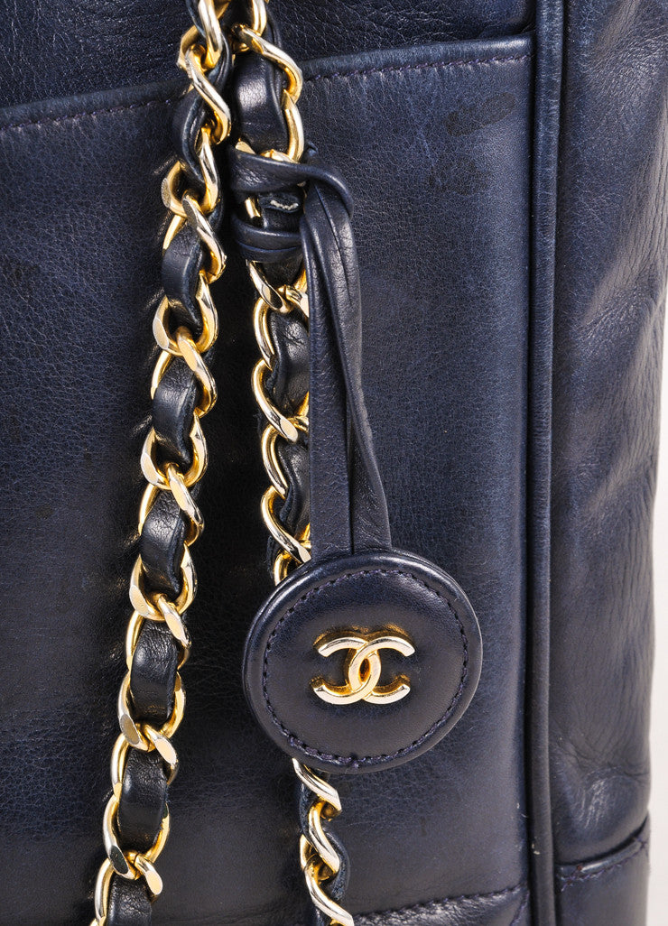 Navy Lambskin Double Chain Strap Shoulder Tote Bag