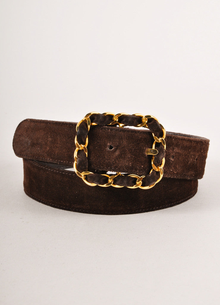 Brown Suede Belt With Gold Toned Chain Link Buckle