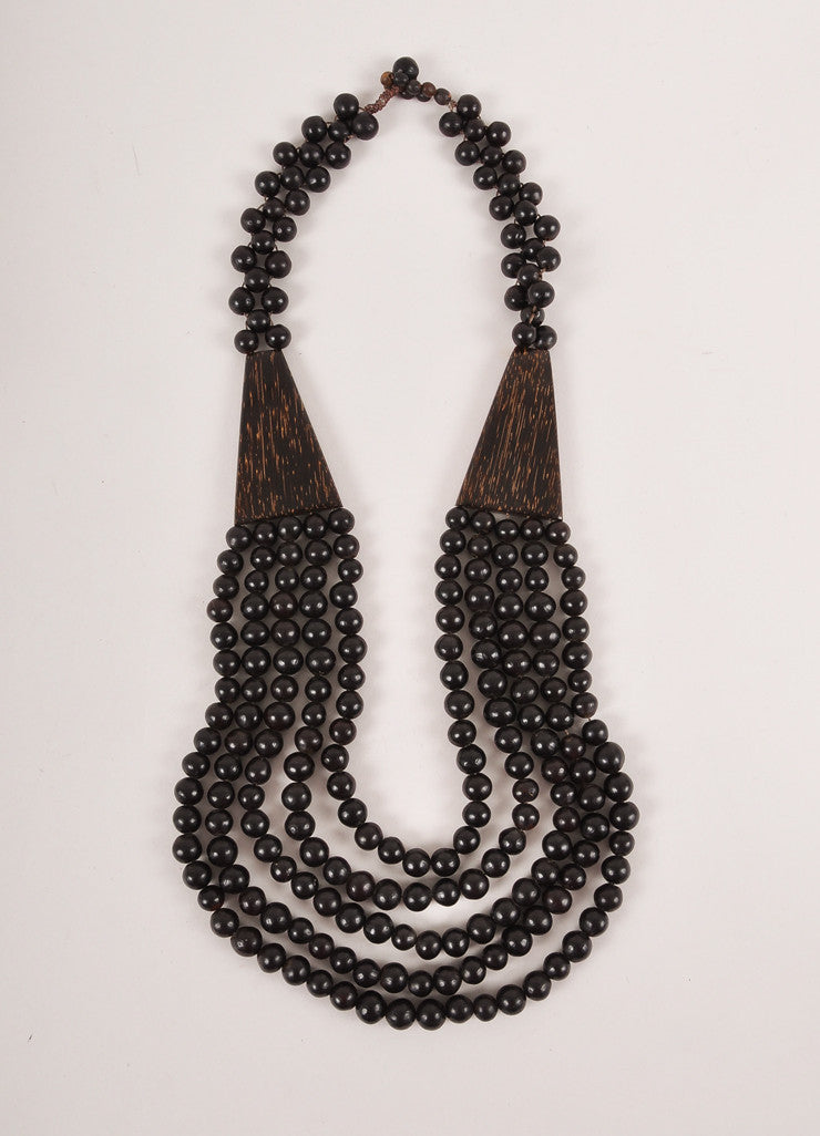 Vintage Black and Brown Wooden Triangle and Layered Wooden Bead Necklace