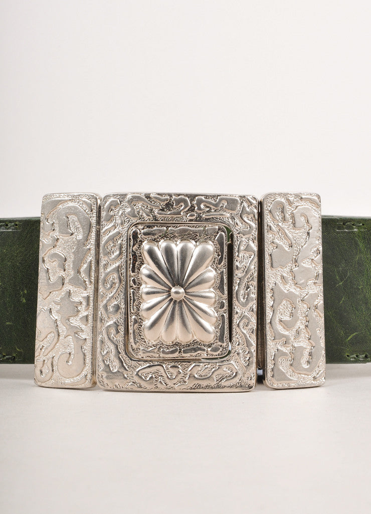 Green Leather Wide Belt With Textured Silver Toned Floral Buckle