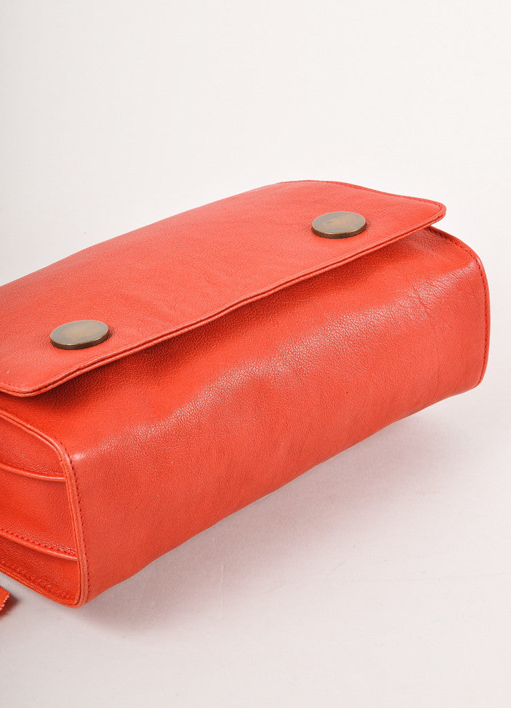 Orange Leather Chain Strap Shoulder Bag