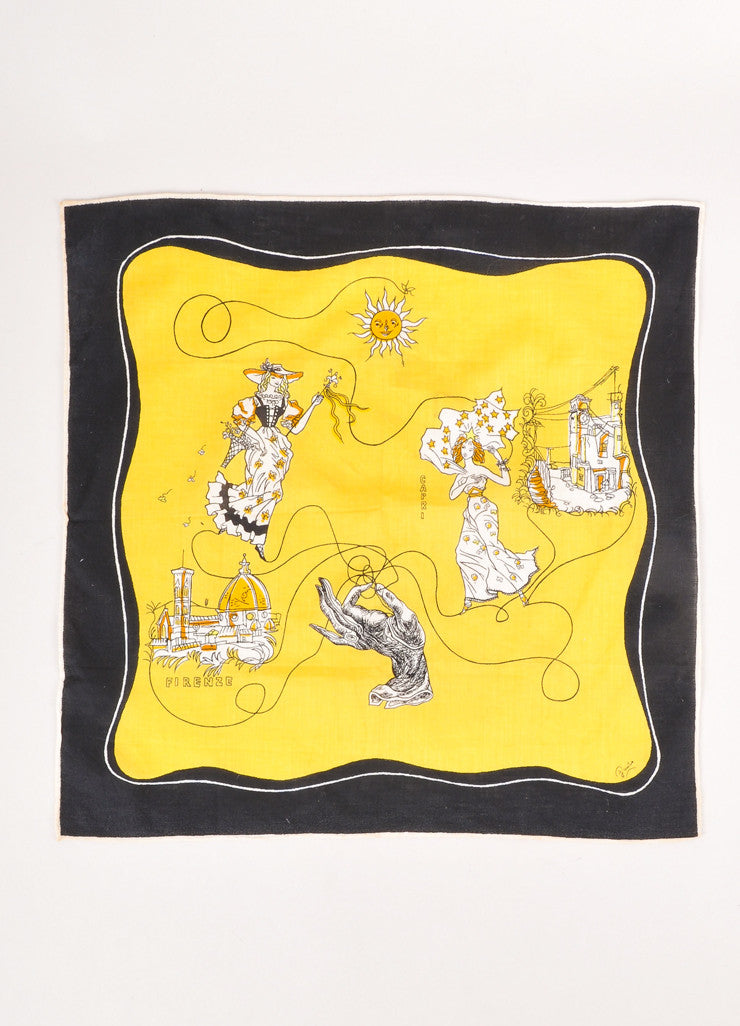 Yellow, Cream, and Black Italy Print Scarf