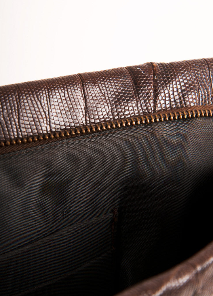 Vintage Brown Lizard Style Large Zip Clutch