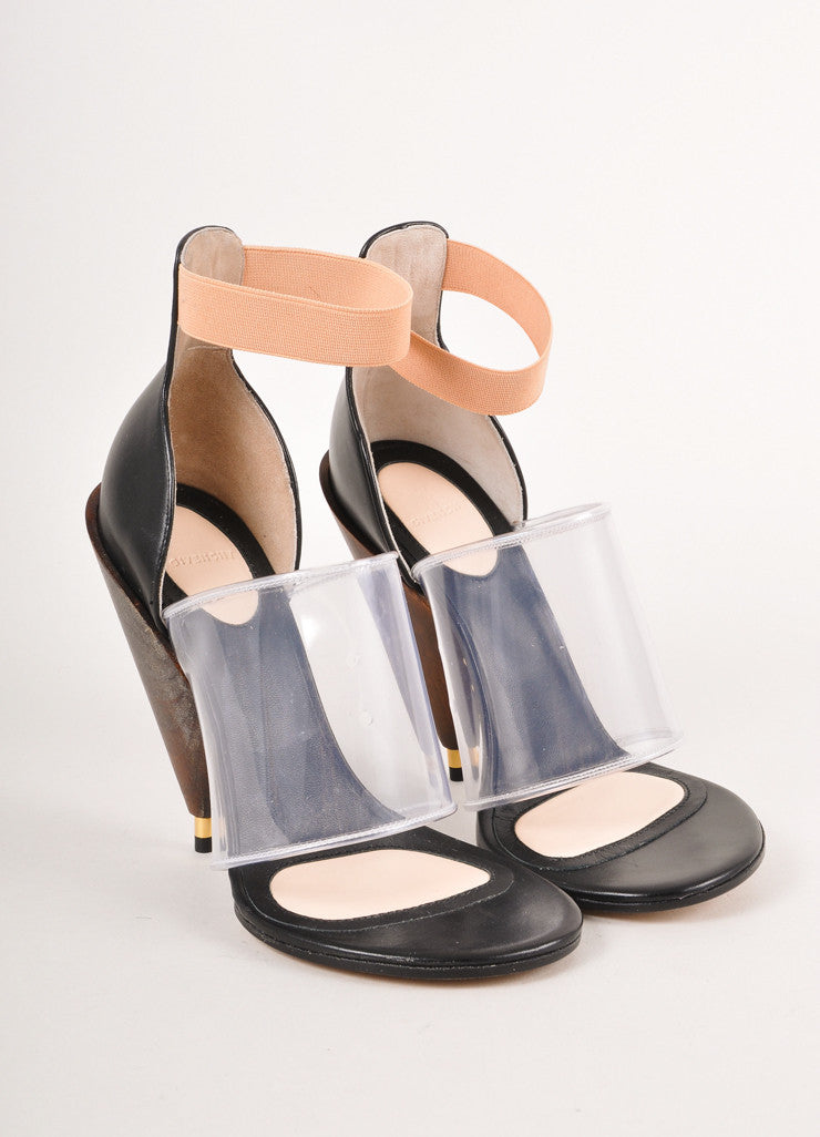 New In Box Black, Brown, and Clear Colorblock Wooden Heel Sandals