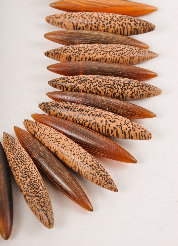 Brown Wood Spiked Horn Wood Necklace