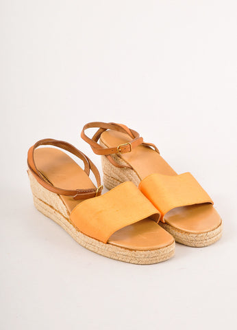 Orange Hermes Satin Espadrille Wedge Sandals