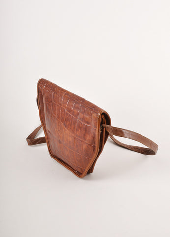Brown Pebbled Leather Saddle Crossbody Bag