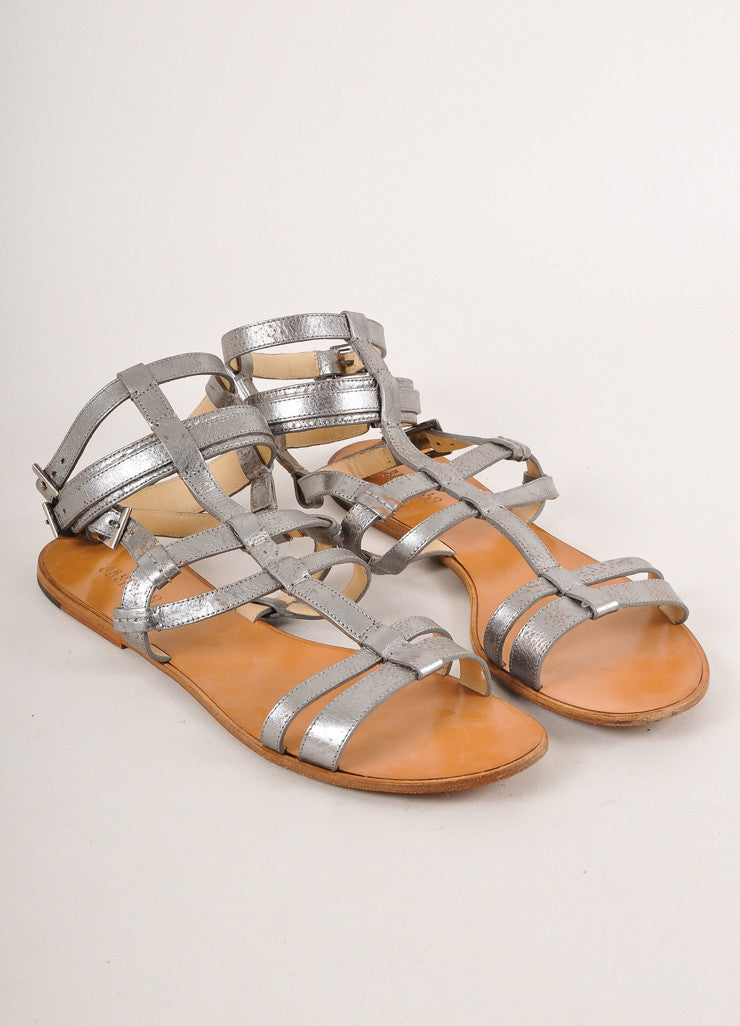 Grey Metallic Leather Gladiator Sandals