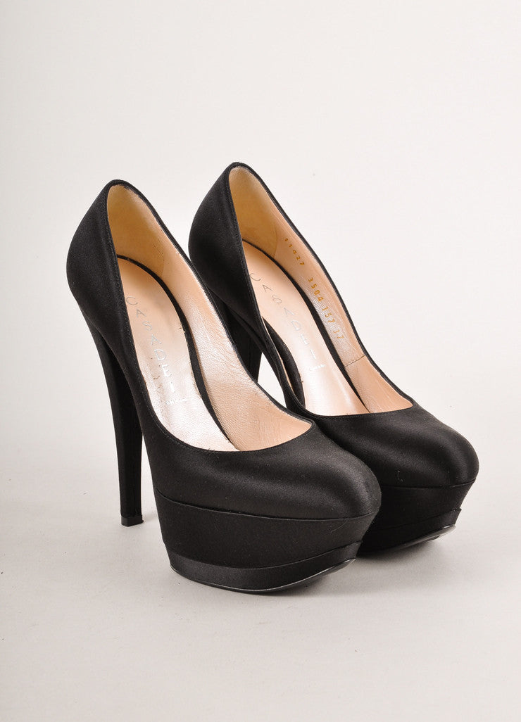 Black Satin Tapered Toe High Platform Pumps