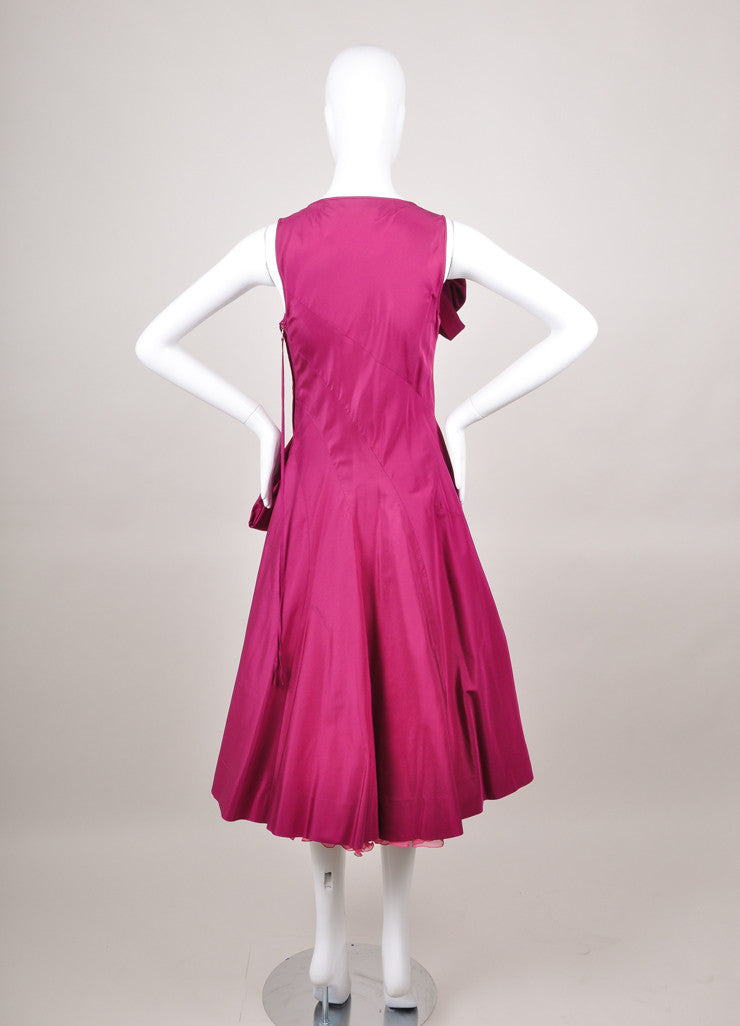 Red Marc Jacobs Sculptural Sleeveless Silk Dress With Pink Tulle